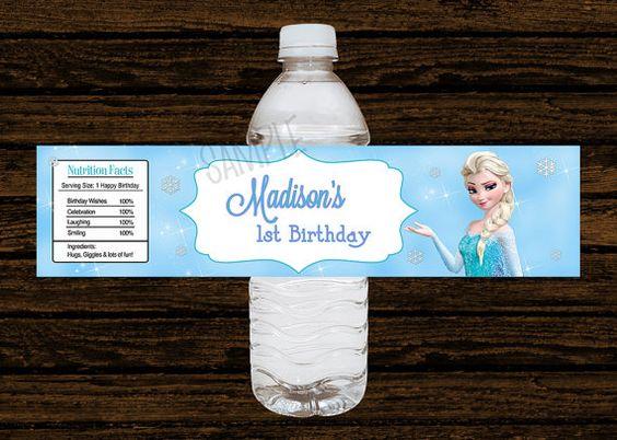 Custom Disney Frozen Party Water Bottle Labels Wraps - Water Resistant (15pcs) on Etsy, $11.25