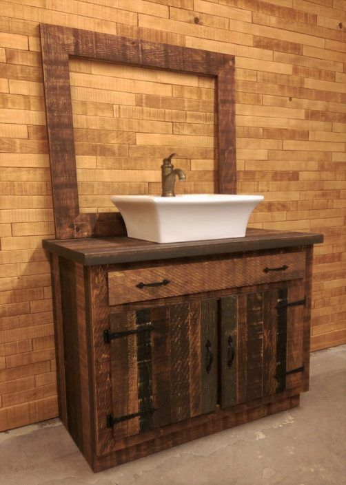 Vanite Salle De Bain Rustique Bois Sur Mesure Rustic Bathroom Vanities Rustic Bathroom Bathroom Vanity
