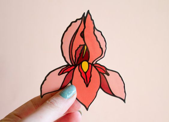 Feminist Pussyflower Vinyl Sticker Iris Flower Vagina