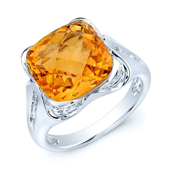 Fabulous (12MM) Cushion Cut Citrine & (0.33ctw) Round Brilliant Diamond Ring in 14 Karat White Gold   (FW40858CTC)