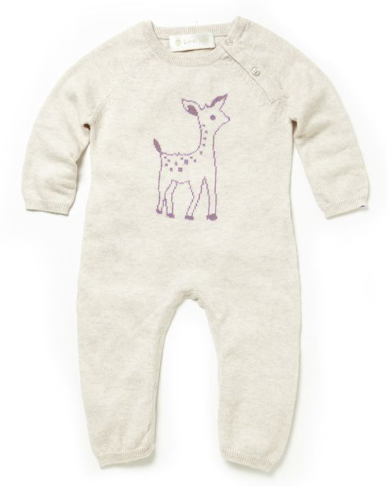 Absolutely sweet and snuggly, this cream coverall in a cozy cotton-cashmere blend features an adorable fawn in soft heather