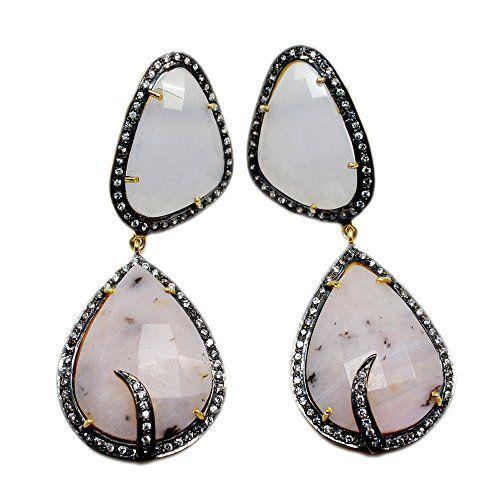 Silvesto Jaipur Pink Opal, Blue Chalcedony & CZ 925 Sterling Silver Gold Plated Earrings Jewelry PG 4476 Silvesto Jaipur http://www.amazon.com/dp/B01BN9IJ36/ref=cm_sw_r_pi_dp_ztXVwb06Q06CN