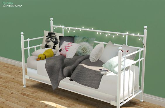 Daybed set this set includes the bed, cushions, a blanket, string lights. the bed inspired by Tromsnes Daybed. Download: package / sims3pack please do not reupload to any other sites.