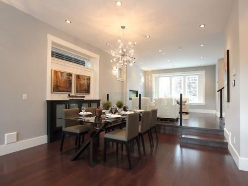 Light grey walls brazilian cherry floors new house for Dining room flooring