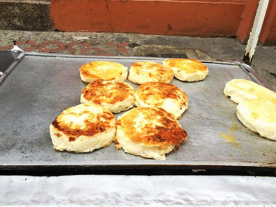 Delicious Arepas in Cartagena, Colombia.