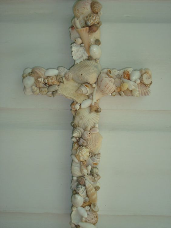 Handmade Wooden Seashell Cross by MyHoneypickles