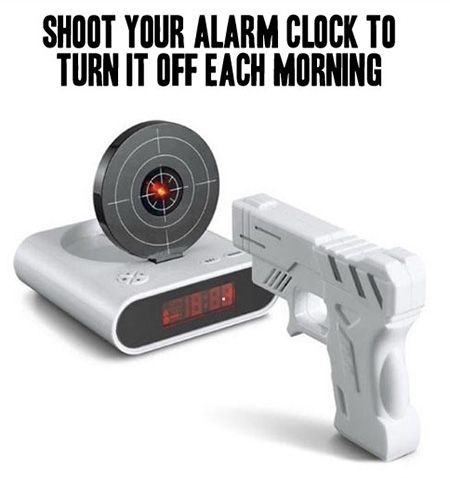 Funny Gadget Requires You to Shoot to Wake Up - TechEBlog