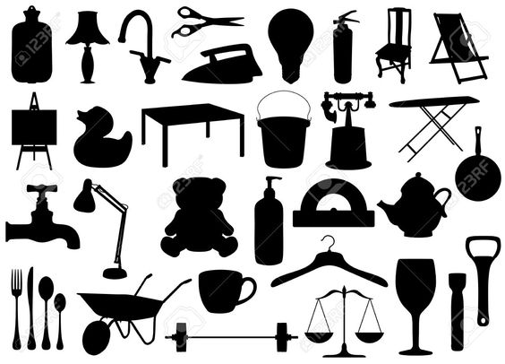 12084303-Illustrated-silhouettes-of-many-household-objects-Stock - grimm küchen rastatt