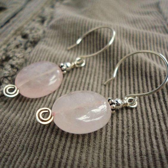 Rose Quartz Earrings in Sterling Silver, Pink Gemstone, Handmade Jewelry
