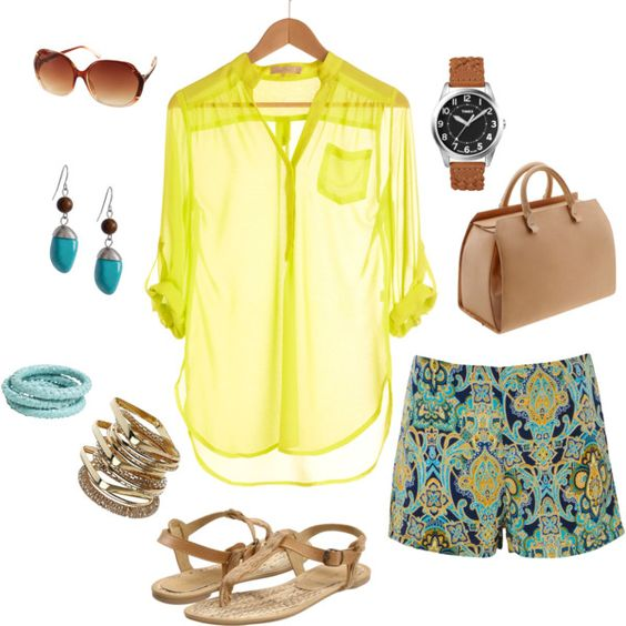 Yellow and teal, created by bsmi on Polyvore