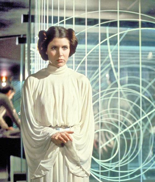 Carrie Fisher as Princes Leia in Star Wars, 1977.