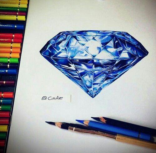 Blue Diamond drawing | Drawings ♥ | Pinterest | Diamond ...