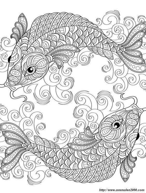 Ausmalbild Zwei Symmetrische Fisch Gl 252 Cksb 228 Rchi H 228 Keln