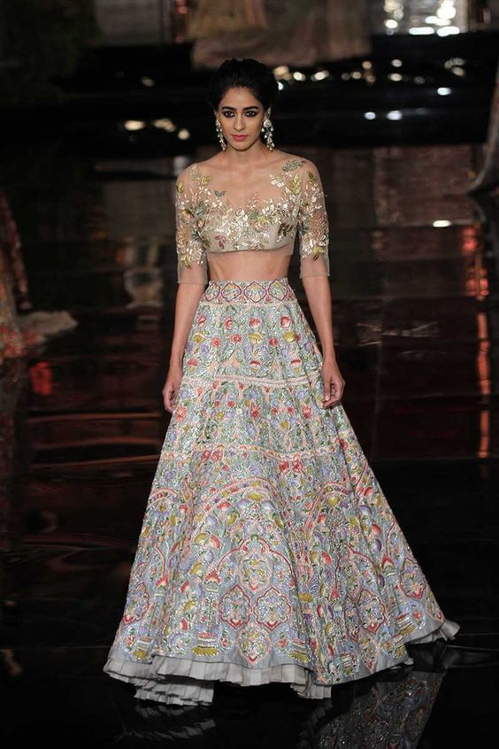 White embroidered Crop top lehnga for brides