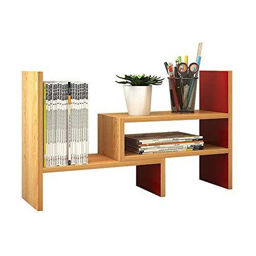 Zhao Xiemao Bookcase Adjustable Freestanding Natural Wood Desktop Storage Organizer Display Shelf Rack Coun Desktop Storage Home Office Colors Display Shelves