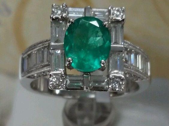 18k gold colombian Emerald 1.22ct.1.64ct baggates&rd F VS2 vintage& antique fine #Cocktail