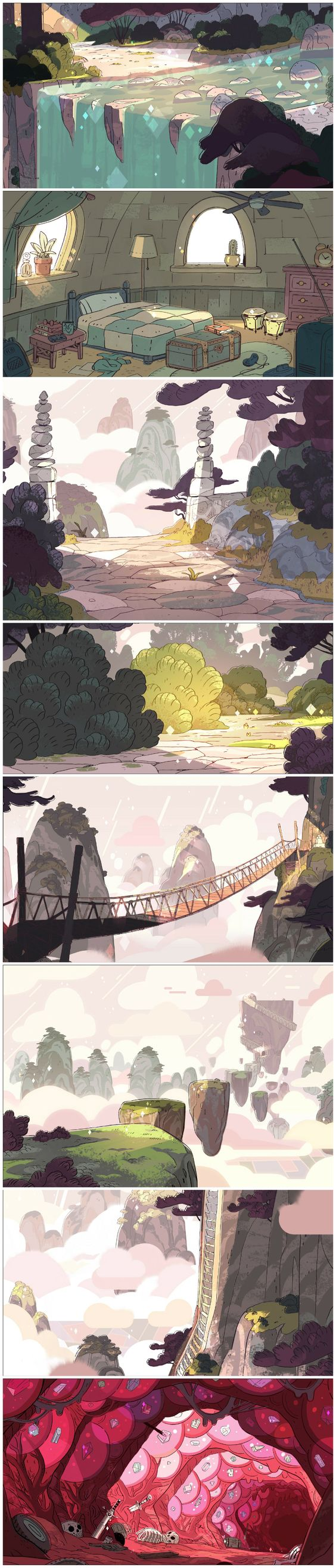 "A selection of Backgrounds from the Steven Universe episode: ""Giant Woman""      Art Direction: Kevin Dart      Design: Sam Bosma      Paint: Elle Michalka, Jasmin Lai:"