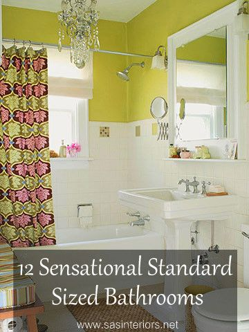 Inspiration for bathrooms for normal people. Like the idea of removing the closet doors. Pretty colors and chandelier is not expected in a bathroom.. I like!:
