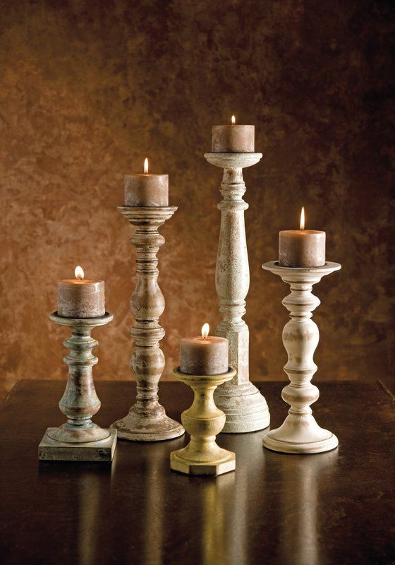 5 Piece Kanan Wood Candle Holder Set Wooden Candle Holders Wood Candle Sticks Tuscan Candle Holders