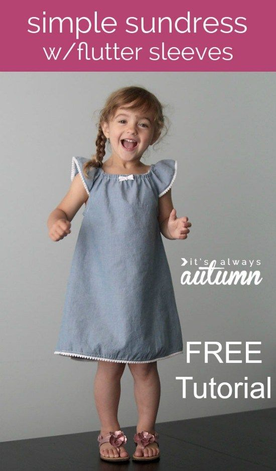 Simple Girl S Sundress With Flutter Sleeves Girls Dress Sewing