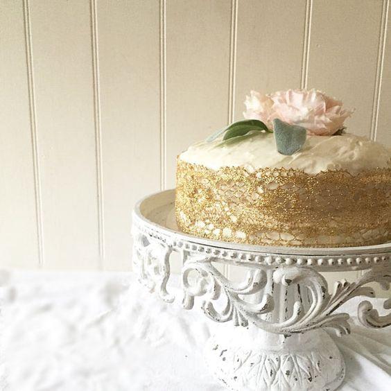 White Distressed Wedding Cake Stand Shabby by FarmHouseFare