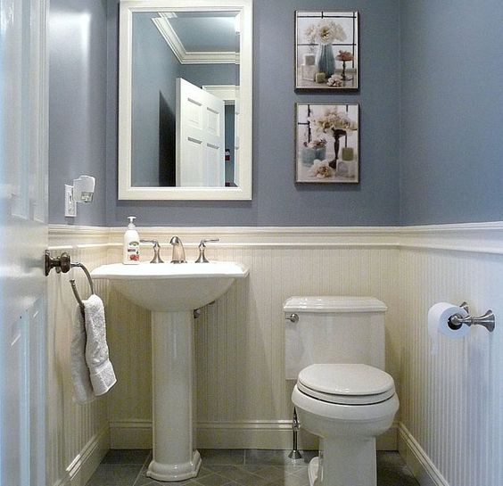 Dunstable blue and white half bath small half baths - Half bath remodel ideas ...