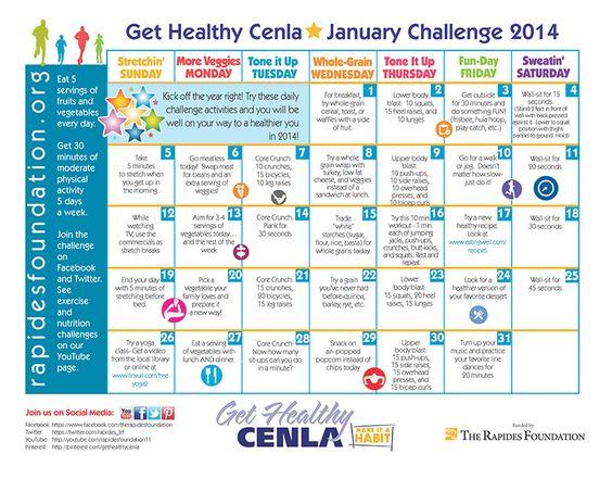 Wellness Calendar Ideas : The new year brings a get healthy challenge calendar