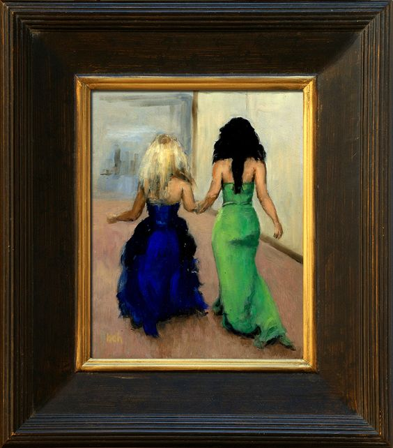 Celtic Woman - Mairead Nesbitt and Mairead Carlin showing off new dresses. 8x10 oil.