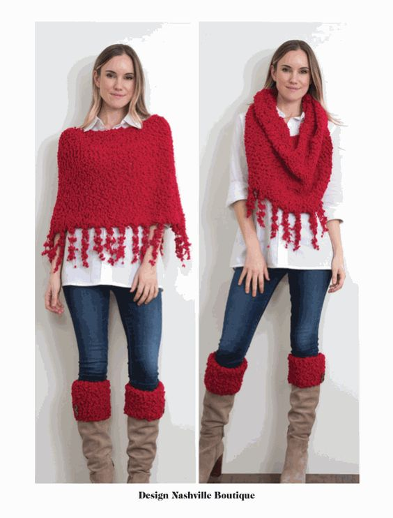 Shearling Infinity Wrap, holiday red