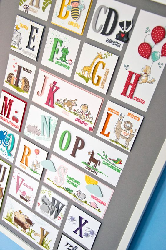 ABC Poster for kids made with the Large Letters Framelits from Stampin' Up!