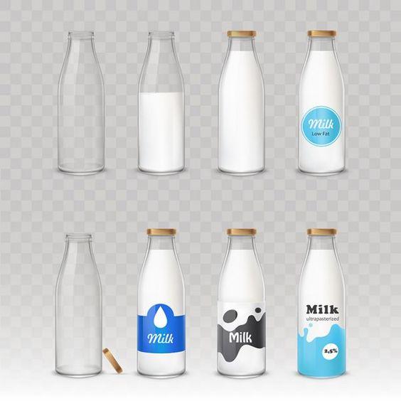 Set Of Vector Illustrations Of Glass Bottles With Milk With Diff Vector And Png Bottle Glass Bottles Bottle Design Packaging