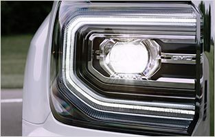 See the 2016 GMC Sierra 1500 pickup truck's available full LED headlamps.