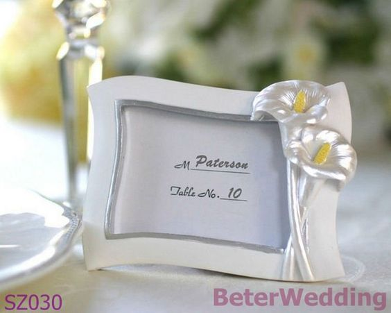 BeterWedding Decoration hot sale Swaying Calla Lily Pearlescent Place Card, Photo Frame SZ030 gifts-in Crafts from Home & Garden on Aliexpress.com $20.00
