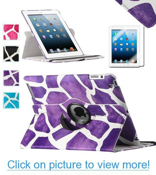Pandamimi ULAK(TM) 360 Degree Stand Case for Apple New iPad 4 $ 3 (3rd and 4th Generation with Retina Display) / IPad 2 / 1X Screen protector (Purple Giraffe)