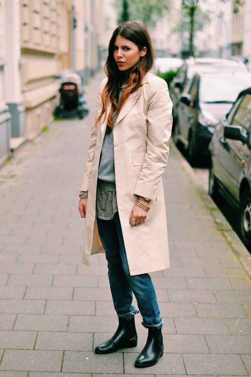 trench coat   flat ankle boots   layers | STYLE S/S | Pinterest