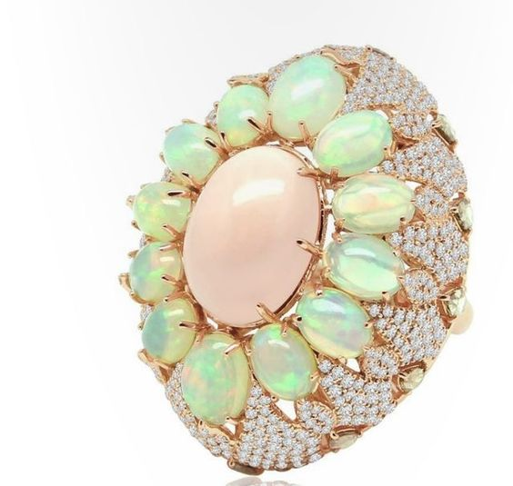 Sutra  Coral, Opal and Diamond Ring