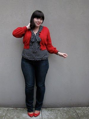 Plus size cropped red cardi over blue and white polka dot blouse ...
