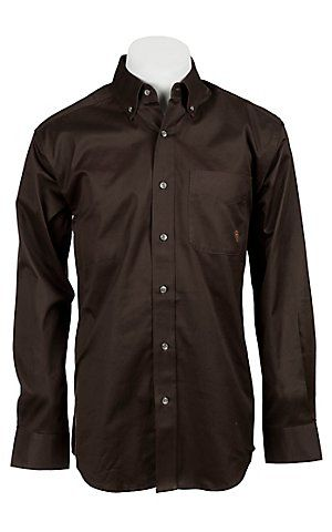 Ariat Mens L/S Solid Coffee Brown Shirt 10010768 | Cavender's Boot City