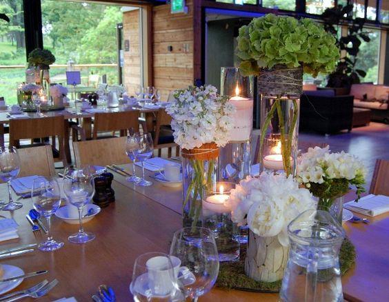 Centros de mesa para bodas r sticas con musgo hortensias - Mesas de centro rusticas ...