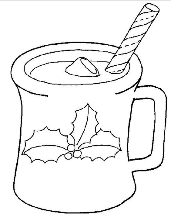 Taza de chocolate caliente para navidad para pintar for Dibujos para decorar