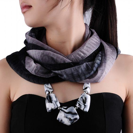Women Fashion Grey mix Black Silk Scarf Resin Bead Pendant Statement Bib Necklace [N0008352] - $4.63 : FindJewel.com