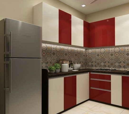 Modular Kitchen Cabinets With Contrasting Colours Small L Shape Kitchen Design With Ca Kitchen Inspiration Design Modern Kitchen Design Kitchen Design Small