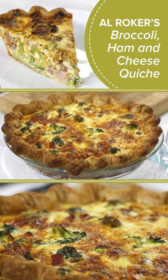 This cheesy broccoli, ham and cheddar quiche is the perfect crowd ...