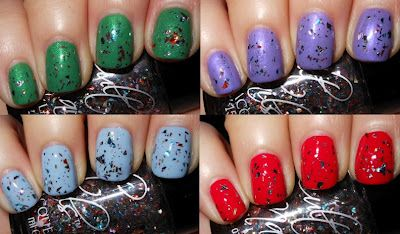 Imperfectly Painted: Cult Nails Happy Ending layered over Feelin' Froggy, Charming, Princess, and Evil Queen