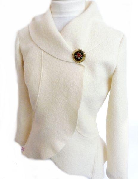Boiled Wool Bridal Bolero Jacket. Available in Size XS-L,ecru/creme.