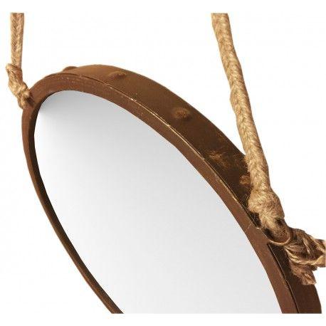 espejo pared grande redondo metal xido cuerda grande