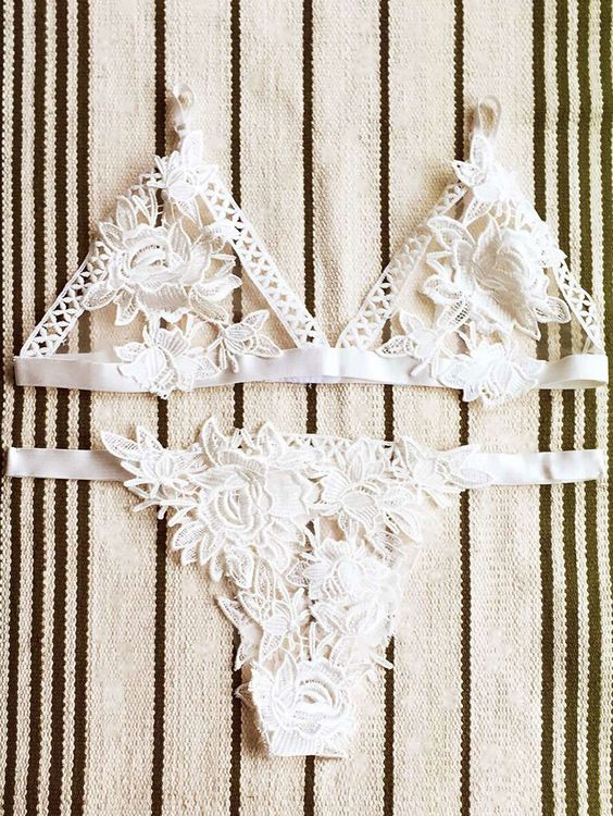 Lace Hollow Out Cami Lingeries Suit