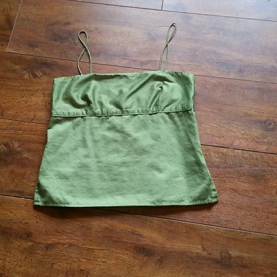 "J. Crew spaghetti straps top. Green with white polka dots top in excellent condition.  100% cotton fully lined. 15"" armpit to armpit x 13-1/2"", side zipper. J. Crew Tops Tank Tops"