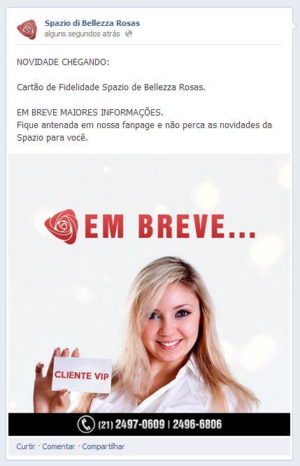Arte para #feed de notícias sobre #novidades na Spazio de Bellezza Rosas... Cartão de #Fidelidade.