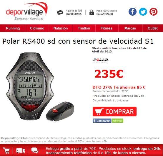 Polar RS400 sd con sensor de velocidad S1  en #deporvillage por #235€. Oferta válida hasta las 24h del 13 de Abril de 2013